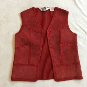 Vintage 70s red suede and knit vest